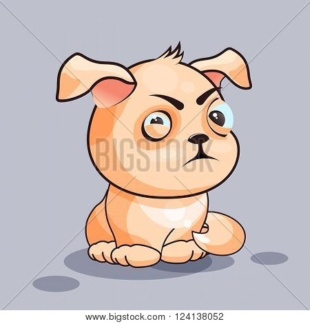 Vector Stock Illustration isolated Emoji character cartoon dog squints and looks suspiciously sticker emoticon for site, infographics, video, animation, websites, e-mails, newsletters, reports, comics