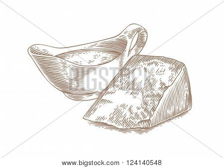 Drawing of cheese sauce in sauceboat and piece of hard cheese