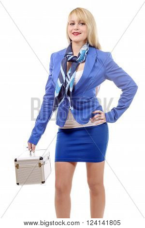 a fullbody flight attendant standing isolated over a white background