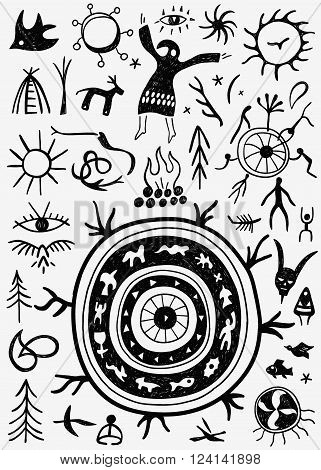 shamans ritual - set icons in graphic style , design elements