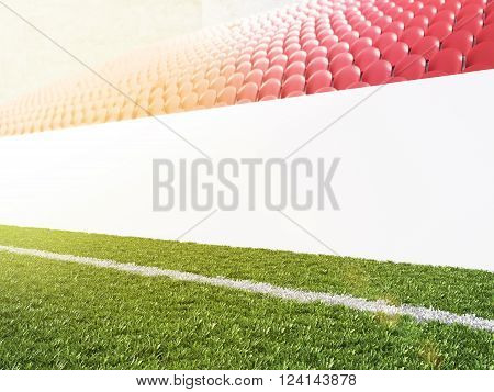 Blank banner around pitch red seats. Side view. Concept of sport advertising. Mock up. 3D rendering