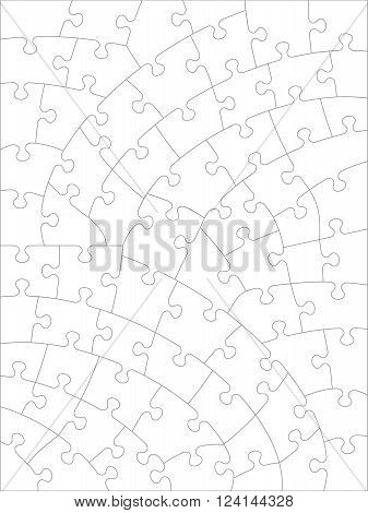 Jigsaw puzzle blank template or cutting guidelines of irregular hand-cut style transparent pieces. Pieces are easy to separate for vector mode (every piece is a single shape).