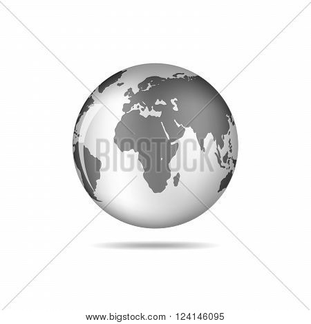 Black and white vector Earth globe isolated on white. Black simple scheme of the globe. Globe earth Icon - vector illustration.