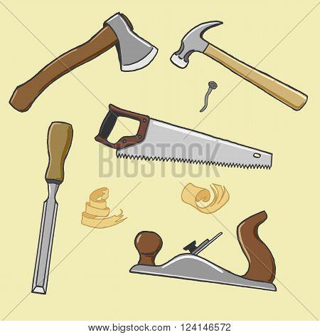 carpenter tools ax hammer handsaw chisel plane