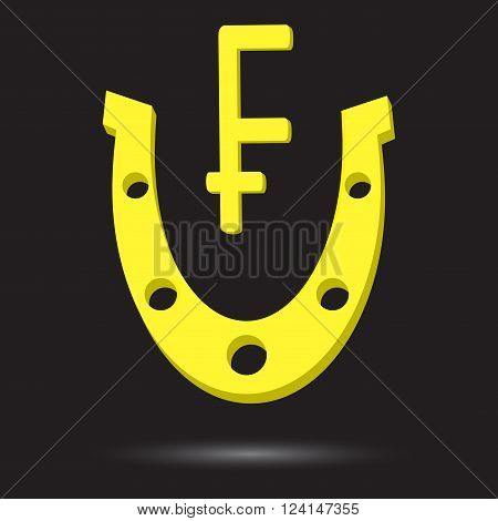 Golden horseshoe with symbol gold swiss frank. Frank lucky talisman metal icon success and gold fortune. Vector flat design illustration poster