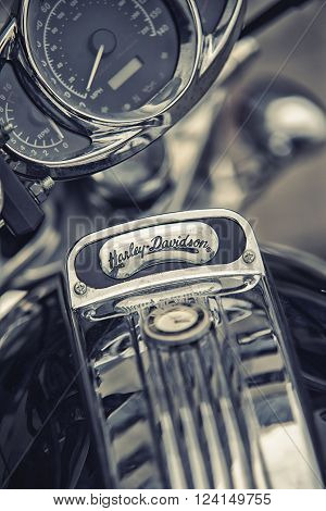 Wroclaw, Poland June 27, 2015: Detail And Logo Of Harley - Davidson On One Of The Motorcycles During