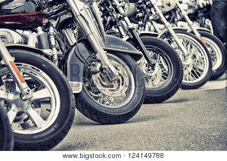 Wroclaw, Poland June 27, 2015: Detail And Logo Of Harley - Davidson In Line During The Motorshow In