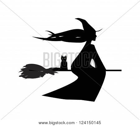 flying witch and her cat digital illustartion silhouette on white background