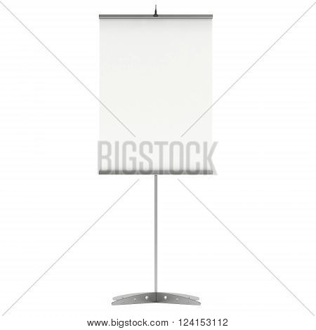 Blank Roll Up Expo Banner Stand. Trade show booth white and blank roll-up. 3d render illustration isolated on white background. Template mockup roll up banner for your expo design. poster