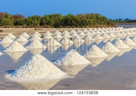 Salt Pile in Salt Farm Thailand, Scenic View