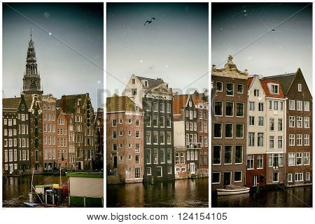 Beautiful views of the ancient buildings at the waterside and view of Oude Kerk (Old Church) from Damrak canal in Amsterdam the Netherlands