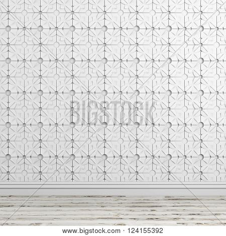 3d white abstract wall abd wooden floor