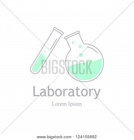 Vector laboratory chemical medical test logo icon. Laboratory equipment vector logo. Lab logo template vector science icon. Lab icon logo isolated on white. Chemicals and science logo.
