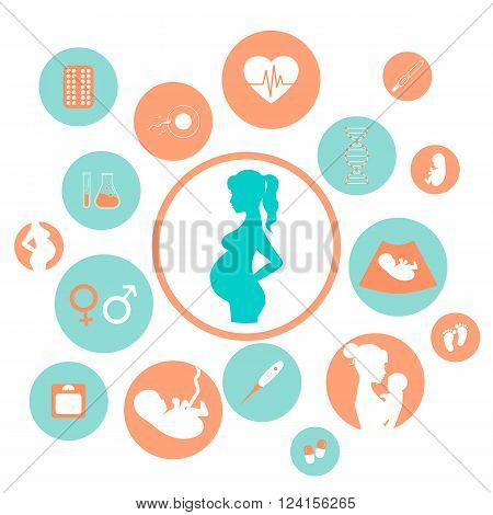 Pregnancy and newborn baby icons set. Childbirth and motherhood. Pregnancy and birth infographics. Medicine and pregnancy vector icons set. Baby care mother birth illustration.