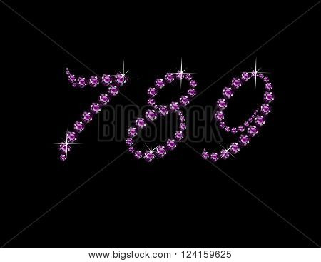 Numerals 7 8 and 9 in stunning Amethyst Script precious round jewels isolated on black.