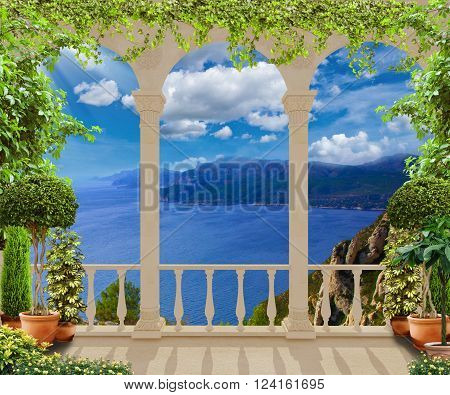 Beautiful classic terrace with views of the Mediterranean sea