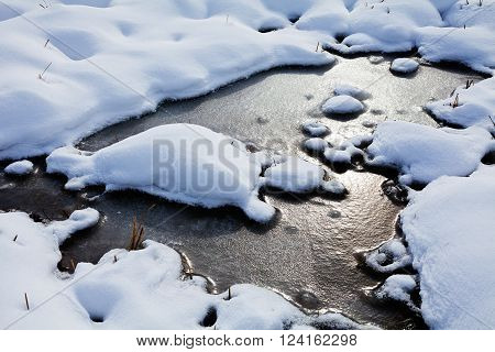 Ice snow and water in puddles in bog on sunset