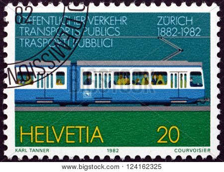 SWITZERLAND - CIRCA 1982: a stamp printed in the Switzerland dedicated to Zurich Tram Centenary circa 1982