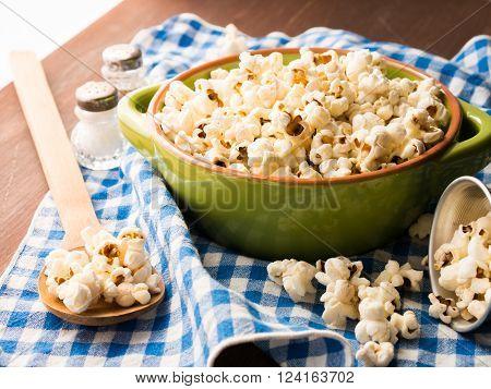 Popcorn In A Bowl On Napkin