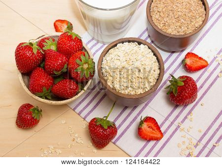 Oatmeal And Strawberries On The Table