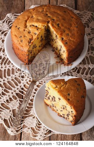 Chopped Sponge Cake With Chocolate Drops Close-up. Vertical