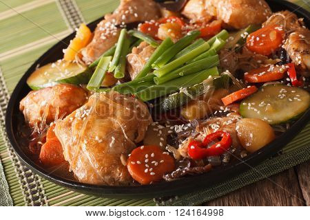 Dakjim Braised Chicken With Vegetables In A Korean Style Close-up. Horizontal