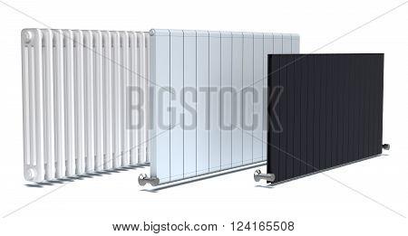 set of three radiators on white background (3d render)