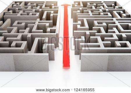 Red Arrow Through Maze