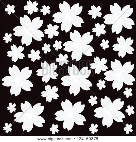 Seamless Cherryblossom black and white pattern background