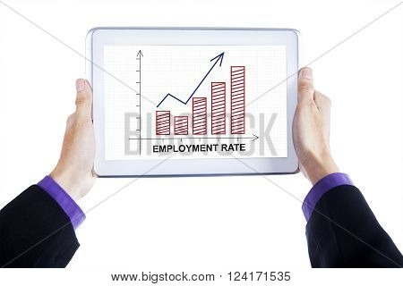 Close up of businessman hands holding a digital tablet with employment rate chart on the screen