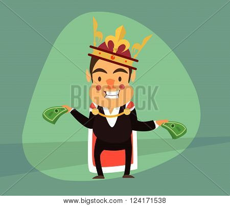smiling businessman in the guise of the king and the royal crown holding Dolar.Vector illustrations. EPS 10