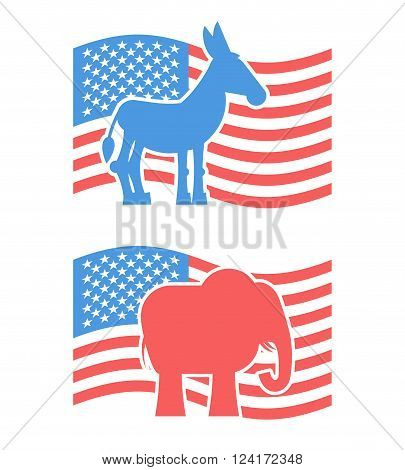 Donkey and elephant symbols of political parties in America. USA elections.  Opposition to American policy. democratic donkey and republican elephant. USA symbol of political debate