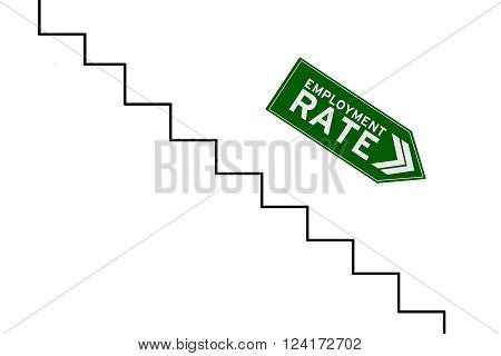 Image of declining arrow sign with reduction graph of employment rate isolated on white background