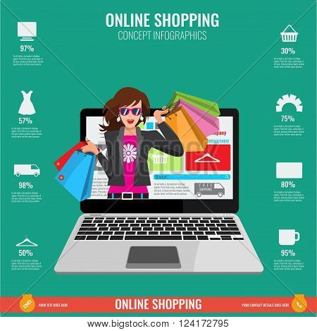 Online shopping concept infographics in vector. Illustrated Woman with paper shopping bags watching from laptop.