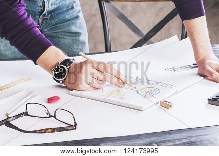 Business Chart In Copybook