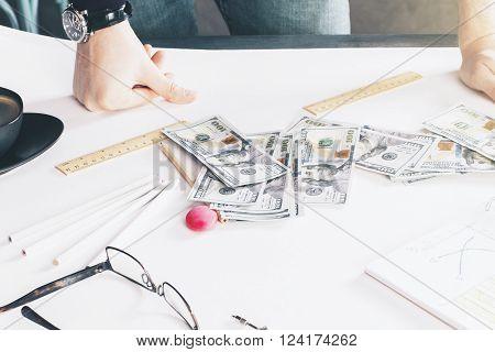Desktop With Dollars