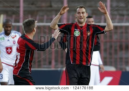 BUDAPEST HUNGARY - APRIL 2 2016: Marton Eppel of Honved celebrates his equalizer goal during Budapest Honved - Videoton OTP Bank League football match at Bozsik Stadium.