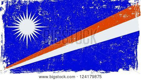 Marshall Islands vector grunge flag isolated on white background.
