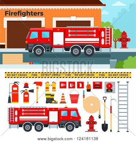 Fire-engine vector flat illustrations. Firefighters truck standing on the street. Emergency concept. Fire-engine, harmer, tube, stairs, other fire equipment isolated on white background