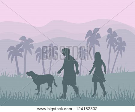 Landscape with mountains ans palms, and a couple walking with a dog,