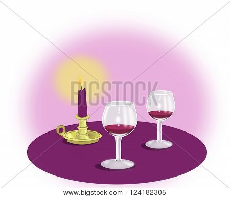 Two wine glasses and a candle on a violet background.
