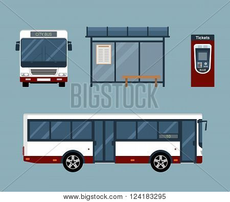 Flat style concept of public transport. Set of city bus with front and side view, bus stop and ticket machine. Isolated vector illustration