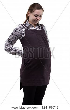 Thinking young pregnant woman on white background