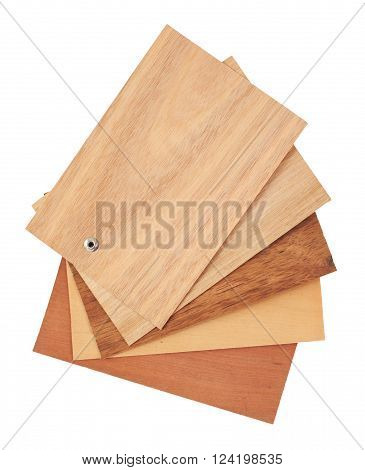 Tasmanian timbers are some of the most beautiful and distinct timbers available in Australia. Veneer packs contain samples of blackwood myrtle tasmania oak - quarter and crown cut and golden sassafras. Object is isolated on white background without shadow