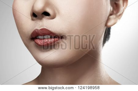 Set of images beautiful asian woman isolated over white background
