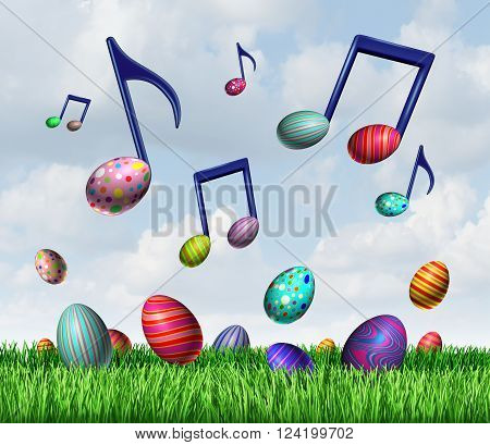 Easter spring music symbol as a group of easter eggs in the grass and flying in the sky as musical notes representing a happy joyful springtime traditional celebration.