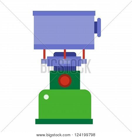 Camping gas vector icon. Single tourist stove isolated on white background. Hiking gas stove pictogram for website and internet.