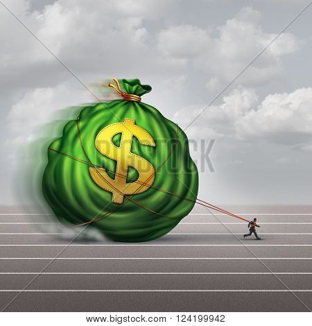 Managing wealth business concept as a businessman dragging a big bag of money as a financial metaphor for finance management or debt burden as a lender shackled to a huge debt.