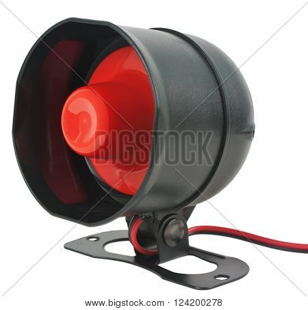 Alarm or siren. Electronic sound siren for security system. Object is isolated on white background without shadows.