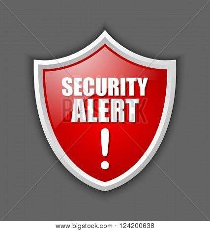 Big red and glossy security alert shield isolated on dark grey background